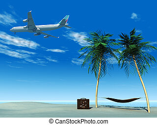 Airplane flying over tropical beach.