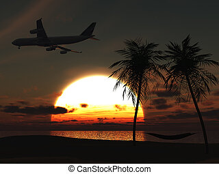 Airplane flying over tropical beach at sunset.
