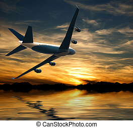 Airplane flying over water in the sunset