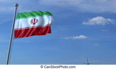 Airplane flying over waving flag of Iran - Commercial...