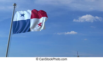 Airplane flying over waving flag of Panama - Commercial...