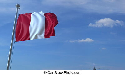 Airplane flying over waving flag of Peru - Commercial...