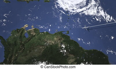Airplane flying to Caracas, Venezuela on the map, 3D...