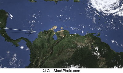 Airplane flying to Caracas, Venezuela on the map. Intro 3D...