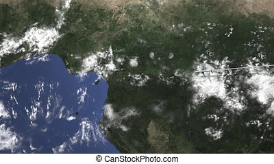 Airplane flying to Douala, Cameroon from east, 3D animation...