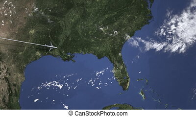 Airplane flying to Jacksonville, United States from west....