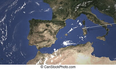 Airplane flying to Madrid, Spain on the map, 3D animation