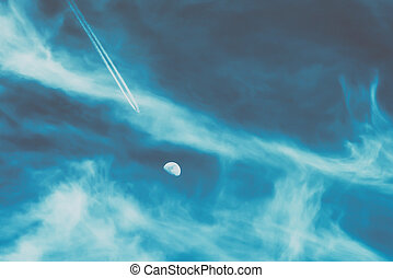 Airplane Flying To The Moon Concept