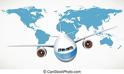 World map flight path background a 3d blue world map vector clip airplane flying with world map background gumiabroncs Choice Image