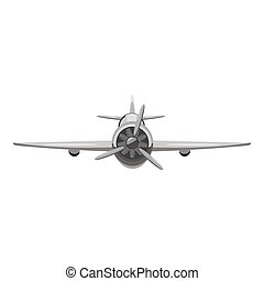 Airplane front view icon, gray monochrome style