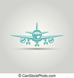 Airplane front view isolated vector icon
