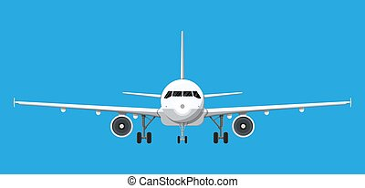 Airplane front view. Passenger or commercial jet isolated on...
