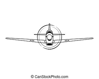 Airplane front view vector illustration isolated on white background.