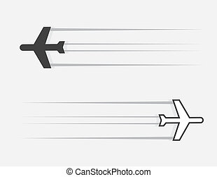 Airplane Glide - Isolated airplane silhouette gliding...