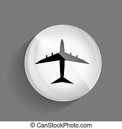Airplane Glossy Icon Vector Illustration