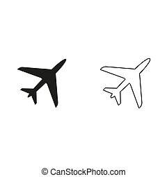 Airplane - green vector icon