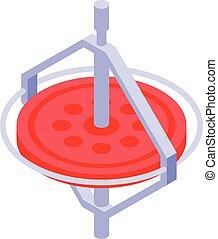 Airplane gyroscope icon, isometric style