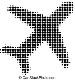 Airplane Halftone Dotted Icon