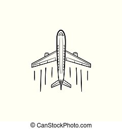 Airplane hand drawn outline doodle icon.