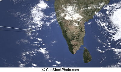 Airplane heading to Bengaluru, India from west on the map. Intro 3D animation