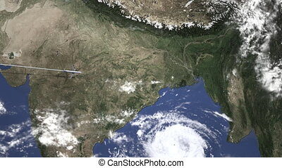 Airplane heading to Kolkata, India from west on the map. ...