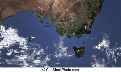 Airplane heading to Melbourne, Australia from west on the map. Intro 3D animation