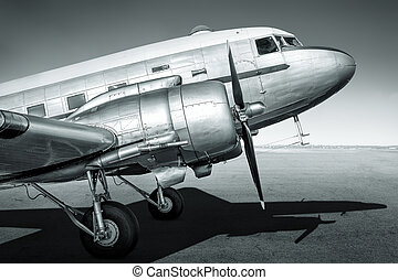airplane - historic aircraft ist waiting on an airfield