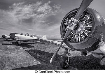 airplane - historical aircraft on an airfield