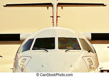 airplane, hos, solnedgång