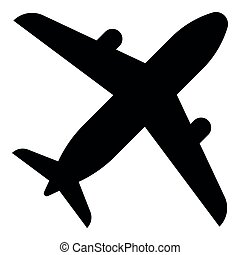 Airplane icon black color illustration flat style simple image