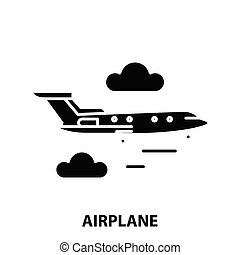 airplane icon, black vector sign with editable strokes, concept illustration