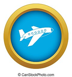 Airplane icon blue isolated