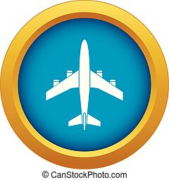 Airplane icon blue vector isolated