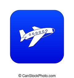 Airplane icon digital blue