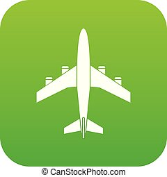 Airplane icon digital green