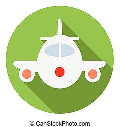 Airplane icon, flat style