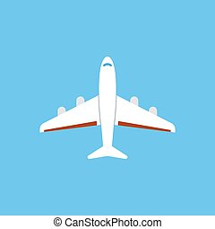 Airplane icon - flat vector illustration isolated on blue background.
