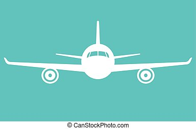 airplane icon. Front view flying aircraft - Airplane on blue...