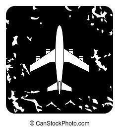 Airplane icon, grunge style