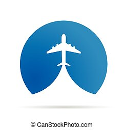 airplane icon illustration in blue