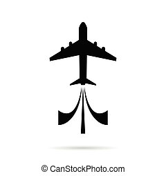airplane icon in black color illustration on white