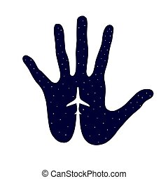 Airplane Icon in hand - vector icon. Airplane, isolated on background of the night sky. Boeing on palm.