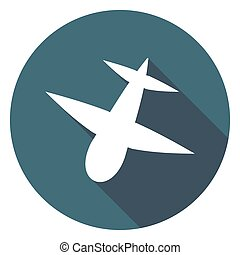 Airplane icon. Modern flat icon with long shadow effect