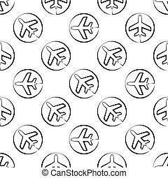 Airplane Icon Seamless Pattern