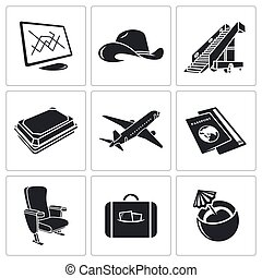 Airplane icon set - flying a plane icon collection on a...