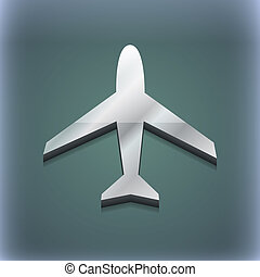 Airplane icon symbol. 3D style. Trendy, modern design with space for your text . Raster