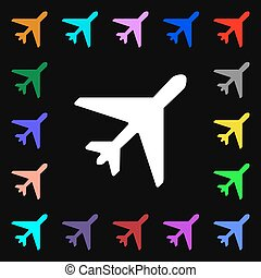 airplane iconi sign. Lots of colorful symbols for your design. Vector