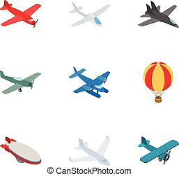 Airplane icons, isometric 3d style