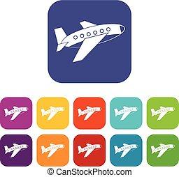 Airplane icons set flat