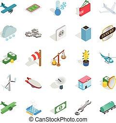 Airplane icons set, isometric style